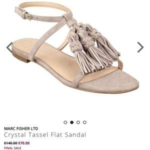 NWT Marc Fisher Crystal Tassel Flat Sandal Sz 6M